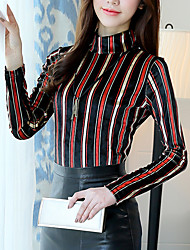 cheap -Women's Going out Casual/Daily Boho Winter Fall T-shirt,Striped Turtleneck Long Sleeve Polyester Medium