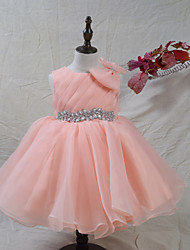 cheap -A-Line Knee Length Flower Girl Dress - Organza Satin Sleeveless Jewel Neck with Crystals/Rhinestones Side Draping by LAN TING BRIDE®