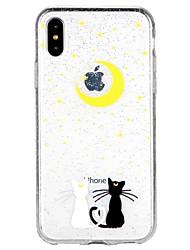 baratos -Capinha Para Apple iPhone X / iPhone 8 / iPhone 8 Plus Translúcido / Estampada Capa traseira Gato / Desenho Animado / Glitter Brilhante Macia TPU para iPhone X / iPhone 8 Plus / iPhone 8