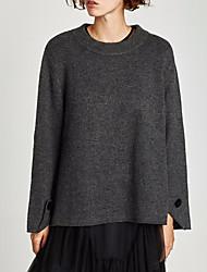 economico -Standard Pullover Da donna-Casual Tinta unita A collo alto Manica lunga Cashmere Nylon Inverno Spesso Elevata elasticità