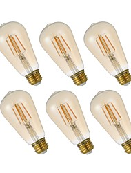 abordables -GMY® 6pcs 4.5W 320 lm E26 Ampoules à Filament LED ST19 4 diodes électroluminescentes COB Intensité Réglable Edison Ampoule Décorative