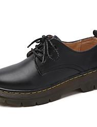 Недорогие -Жен. Обувь Кожа Весна Осень Модная обувь Ботинки На плоской подошве Круглый носок Ботинки Пайетки для Повседневные Черный Красный