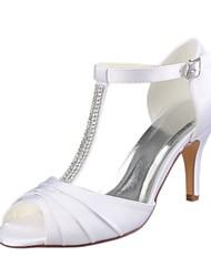 baratos -Mulheres Sapatos Cetim com Stretch Verão Plataforma Básica Sapatos De Casamento Salto Agulha Peep Toe Cristais Branco / Festas & Noite