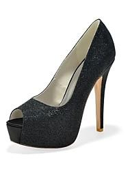 preiswerte -Damen Schuhe Glitzer Frühling Sommer Pumps High Heels Stöckelabsatz Peep Toe für Party & Festivität Kleid Gold Schwarz Silber