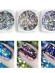 Недорогие -1шт Блестящие Гель для ногтей Пайетки порошок Гель для ногтей Фуксия Королевский синий пурпурно-синий Дизайн ногтей
