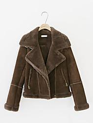 cheap -Women's Casual/Daily Simple Winter Fall Jacket,Solid Shirt Collar Long Sleeve Regular Polyester Lamb Fur