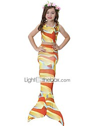 cheap -The Little Mermaid Skirt Swimwear Bikini Kid Christmas Masquerade Festival / Holiday Halloween Costumes Yellow Orange Red Blue Color Block