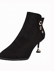 abordables -Femme Chaussures Cuir Nubuck Hiver Bottes à la Mode Bottes Talon Aiguille Bout pointu Bottine / Demi Botte Rivet Noir / Marron / Vert