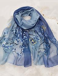 cheap -Women's Silk Wool Rectangle - Flower Embroidered