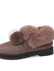 cheap -Women's Shoes Leatherette Winter Spring Fur Lining Loafers & Slip-Ons Low Heel Round Toe Closed Toe for Casual Dress Khaki Black