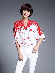 abordables -Mujer Tejido Oriental Casual/Diario Trabajo Primavera Verano Blusa,Escote Chino Floral Seda Medio