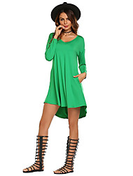 cheap -Women's Casual/Daily Simple T Shirt Dress,Solid V Neck Above Knee Long Sleeve Spandex Spring Fall Medium Waist Stretchy Thin