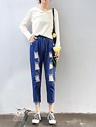 Damer Simple Mikroelastisk Jeans Bukser,Højtaljede Bomuld Ensfarvet Vinter Efterår
