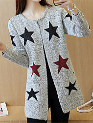 cheap -Women's Daily Wear Classic & Timeless Long Cardigan,Stars Round Neck Long Sleeves N/A Spring Fall Medium Inelastic