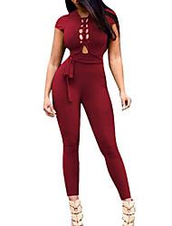 abordables -Femme Soirée Combinaison-pantalon - Ouvert, Couleur Pleine Col en V