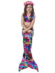 cheap -The Little Mermaid Swimwear Bikini Kid Christmas Masquerade Festival / Holiday Halloween Costumes Rainbow Purple Pink Color Block