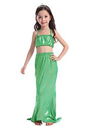 baratos -The Little Mermaid Saia Bikini Roupa de Banho Crianças Natal Baile de Máscaras Festival / Celebração Trajes da Noite das Bruxas Verde