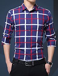 Masculino Camisa Social Diário Casual Todas as Estações,Estampado Poliéster Colarinho de Camisa Manga Comprida Opaca