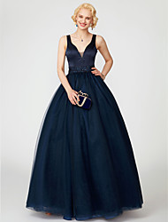 cheap -Ball Gown V Neck Floor Length Satin / Tulle Cocktail Party / Prom / Formal Evening Dress with Sequin / Sash / Ribbon by TS Couture®