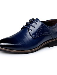 cheap -Men's Shoes Leather Spring / Fall Comfort Oxfords Navy Blue / Light Brown / Dark Brown / Party & Evening