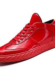 Недорогие -Муж. обувь Материал на заказ клиента Лакированная кожа Зима Весна Удобная обувь Кеды Ноль для Повседневные на открытом воздухе Черный