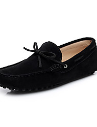 cheap -Women's Shoes Leather Suede Spring Summer Moccasin Boat Shoes Flat Heel Round Toe Closed Toe Bowknot for Casual Outdoor Black Purple Pink