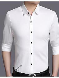 メンズ カジュアル/普段着 秋 シャツ,ストリートファッション シャツカラー ソリッド コットン 長袖 ミディアム