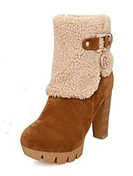 baratos -Mulheres Sapatos Pele Nobuck Outono / Inverno Inovador / Botas de Neve / Curta / Ankle Botas Salto Alto Dedo Apontado / Ponta Redonda