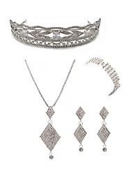 cheap -Women's Rhinestone Imitation Diamond Jewelry Set Body Jewelry / 1 Necklace / 1 Ring - Fashion / European Geometric White Tiaras / Bridal