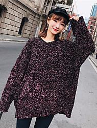 Standard Pullover Da donna-Feste Semplice Tinta unita Rotonda Manica lunga Cashmere Poliestere Inverno Semi-trasparente Anelastico
