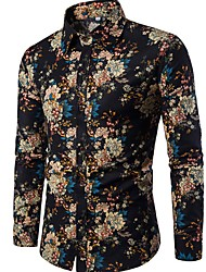 cheap -Men's Club Vintage Chinoiserie Boho Linen Shirt - Floral Standing Collar