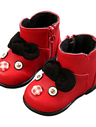Baby Shoes Leatherette Winter Fall First Walkers Snow Boots Boots for Casual Red Black