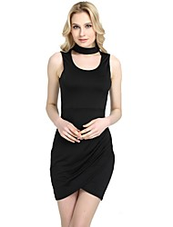 cheap -Women's Party Club Vintage Casual Sexy Bodycon Sheath Dress,Solid Halter Above Knee Sleeveless Rayon Polyester Spandex All Season Spring