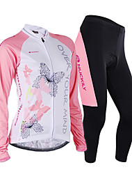 cheap -Nuckily Women's Long Sleeves Cycling Jersey with Tights - Pink Geometic Bike Jersey Clothing Suits, Anatomic Design, Breathable,