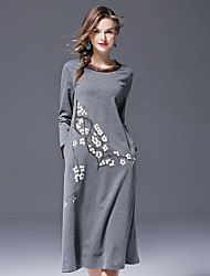 economico -Tubino Vestito Da donna-Quotidiano Vintage Casual Monocolore Rotonda Medio Maniche lunghe Rayon Poliestere Nylon Inverno Autunno A vita