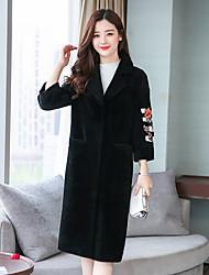 cheap -Women's Casual/Daily Simple Winter Fall Fur Coat,Solid Shirt Collar Long Sleeve Long Lamb Fur
