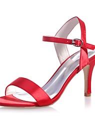 abordables -Femme Chaussures Satin Printemps / Eté Escarpin Basique Sandales Talon Aiguille Bout ouvert Boucle Rouge / Bleu / Ivoire