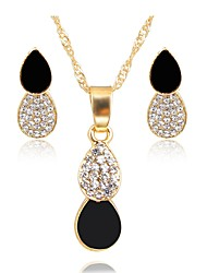 cheap -Women's Gold Plated Jewelry Set 1 Necklace Earrings - Simple Fashion Black Jewelry Set Bridal Jewelry Sets For Wedding Daily