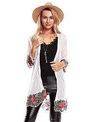cheap -Women's Going out Street chic Long Cardigan - Solid Colored Floral Geometric, Lace Flower Stand