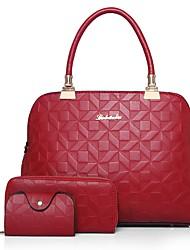 cheap -Women Bags PU Bag Set 3 Pcs Purse Set Zipper for Event/Party Formal All Season Spring Blushing Pink Red Black White Blue