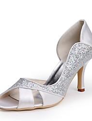 preiswerte -Damen Schuhe Paillette Seide Frühling Sommer Pumps Hochzeit Schuhe Stöckelabsatz Peep Toe Applikationen für Hochzeit Party & Festivität