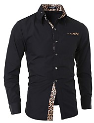 cheap -Men's Going out Work Casual Punk & Gothic All Seasons Shirt,Leopard Shirt Collar Long Sleeve Cotton