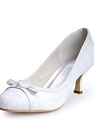 abordables -Femme Chaussures Dentelle Printemps / Eté Escarpin Basique Chaussures de mariage Talon Cône Bout fermé Noeud Blanc / Mariage / Soirée & Evénement