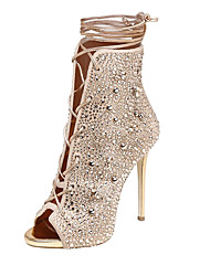 cheap -Sandals Summer Gladiator Fleece Wedding Office & Career Party & Evening Dress Casual Stiletto Heel Rhinestone Lace-up Silver Gold