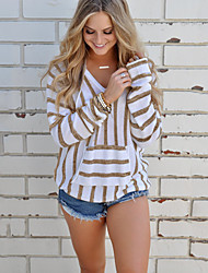 cheap -Women's Long Sleeves Pullover - Striped Hooded