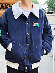cheap -Men's Street chic Parka-Solid Colored,Print Shirt Collar