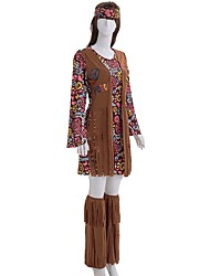 cheap -Hippie Costume Women's Dress / Masquerade / Party Costume Print Vintage Cosplay Polyester Long Sleeve Bell Sleeve Knee Length