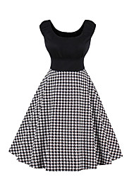 cheap -Women's Party Going out Casual Active Sheath Dress,Solid Houndstooth Round Neck Knee-length Sleeveless Cotton Winter Fall Mid Rise