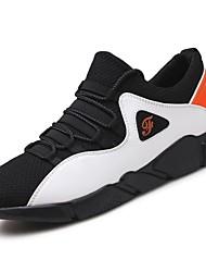Masculino sapatos Pele Napa Inverno Outono Conforto Tênis Caminhada Botas Curtas / Ankle Cadarço de Borracha para Preto Branco/Preto