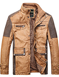 cheap -Men's Work Leather Jacket - Color Block, Rivet Patchwork Stand